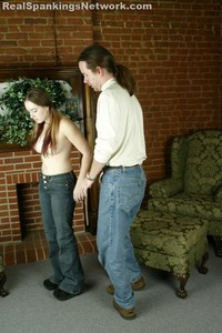 Amy Gets A Topless, Bare Bottom OTK Strapping From M - image2
